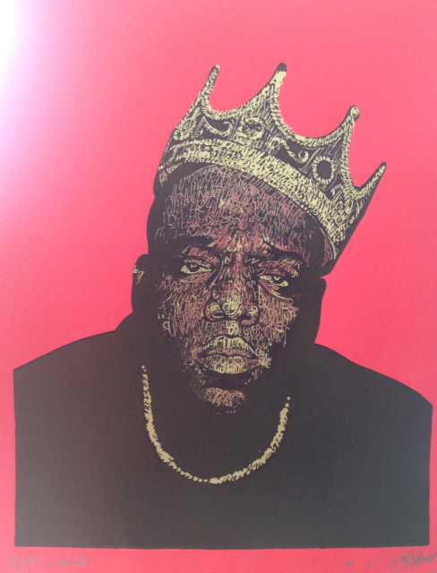 Biggie Smalls B.I.G. - 73 x 103cm - Screen Print on Red Canford Card Artist Proof