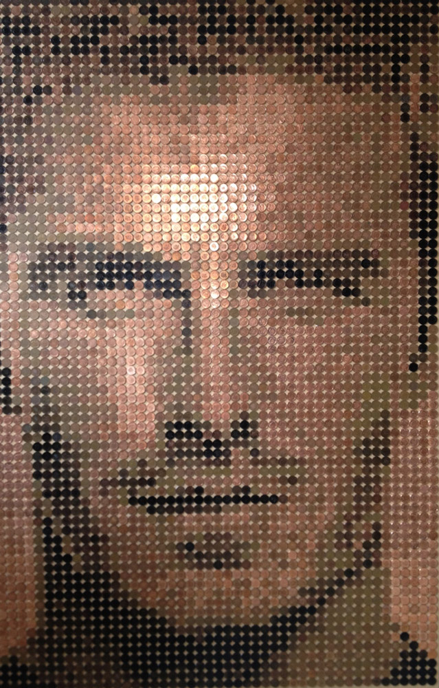 Beckham Coins - 150 x 100cm - Sculptured using 3504 One Penny coins