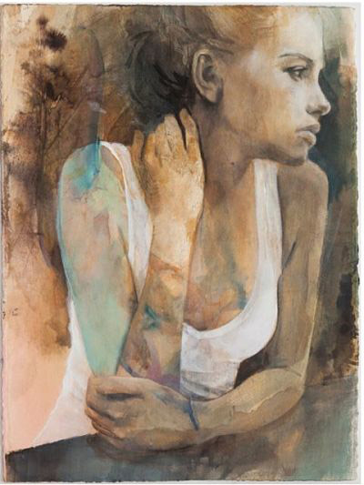 She Remembered His Touch On Her Skin - Mixed media on cotton & paper - 94 x 75cm (Including Frame)