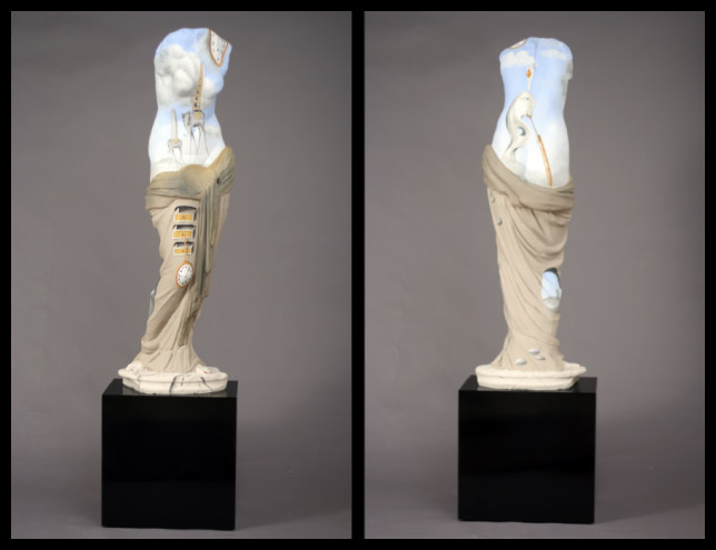 Venus Dali -  High resistance plaster, hand painted fusing the sculpture with the recognized work of Master painter Dali - 160cm high